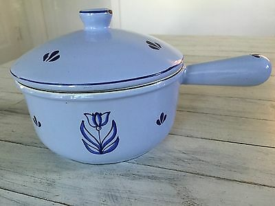 Vintage Made In Holland Cast Iron Enamelware Covered Saucepan With Tulip Motif