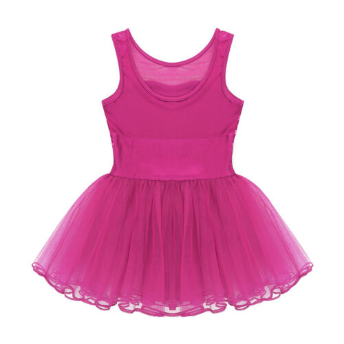 Girls Ballet Dance Dress Gymnastics Leotard Tutu Skirt Sparkly Mermaid Costume