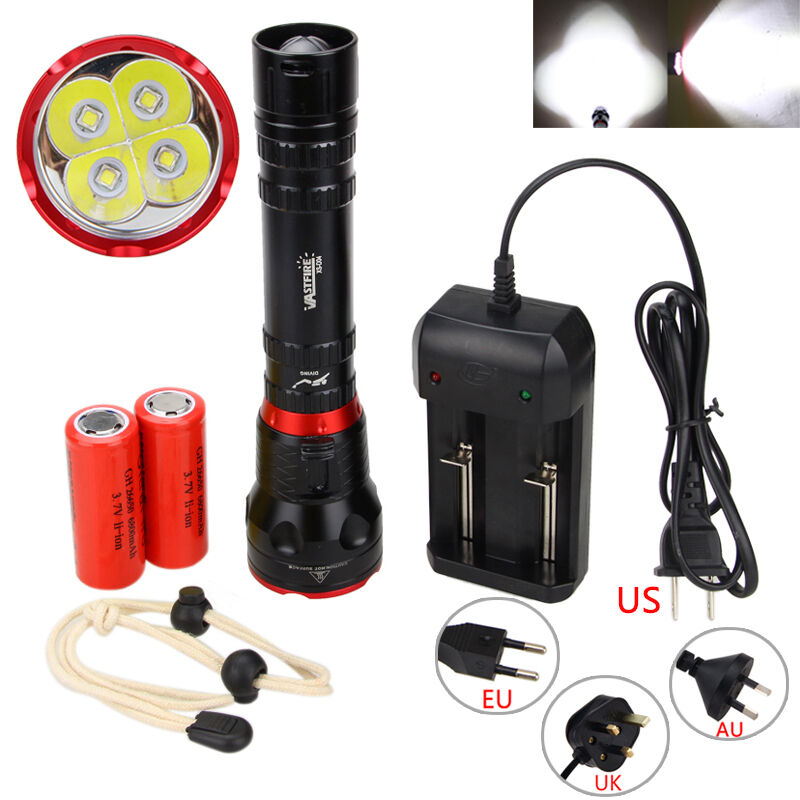 8e65749580 20000LM 4x XM-L L2 LED 18650/26650 Diving Scuba Flashlight Torch Underwater  100m