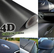 30x152cm Black Gloss 4D Carbon Fibre Vinyl Wrap High Quality Bubble Free 3M Glue
