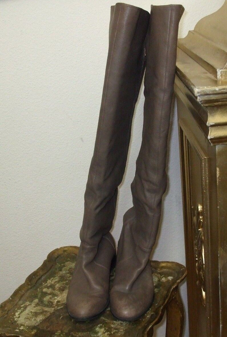 Dolce Vita DV Sz 6.5 Gray Knee High Pull Up Leather Women' Boots