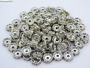 100-Czech-Crystal-Rhinestone-Pewter-Rondelle-Spacer-Beads-4mm-5mm-6mm-8mm-10mm