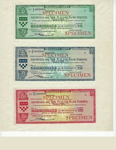 TRAVELERS-CHECK-SPECIMENS-AUSTRALIA-NEW-ZEALAND-BANK-1952-SET-UNC