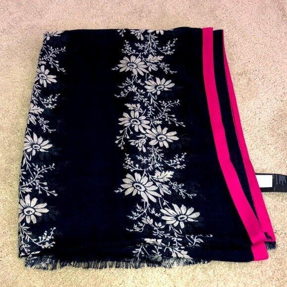 Tommy Hilfiger Scarf Floral Print Navy Blue White Pink
