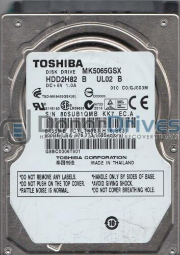 Toshiba 500GB SATA 2.5 Hard Drive MK5065GSX C0//GJ003M HDD2H82 B UL02 B