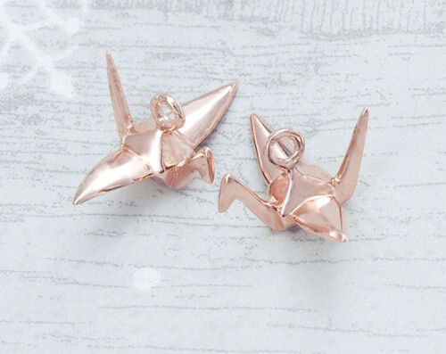 925 Sterling Silver Rose Gold Vermeil Style 2 Origami Bird Charms 6x14mm.