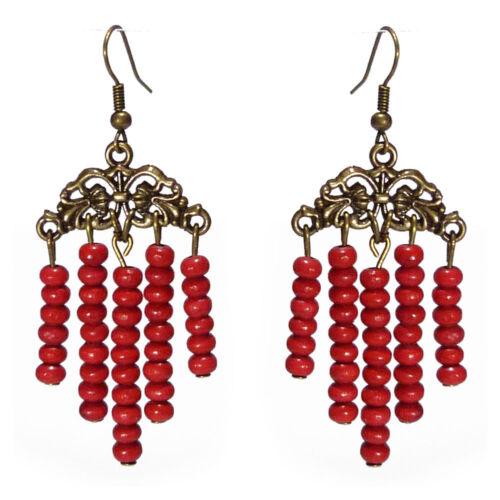 Boucles D/'oreilles femme ethnique métal doré bronze Perles bois rouge légères