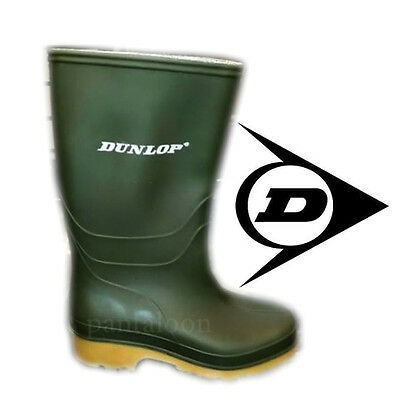 NEW KIDS GREEN WELLINGTON WELLIES BOOTS BOYS/GIRLS SHOES SIZE 10  TO 2 BY DUNLOP