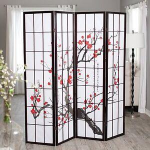 Image Is Loading Brown Cherry Blossom 4 Panel Shoji Room Divider