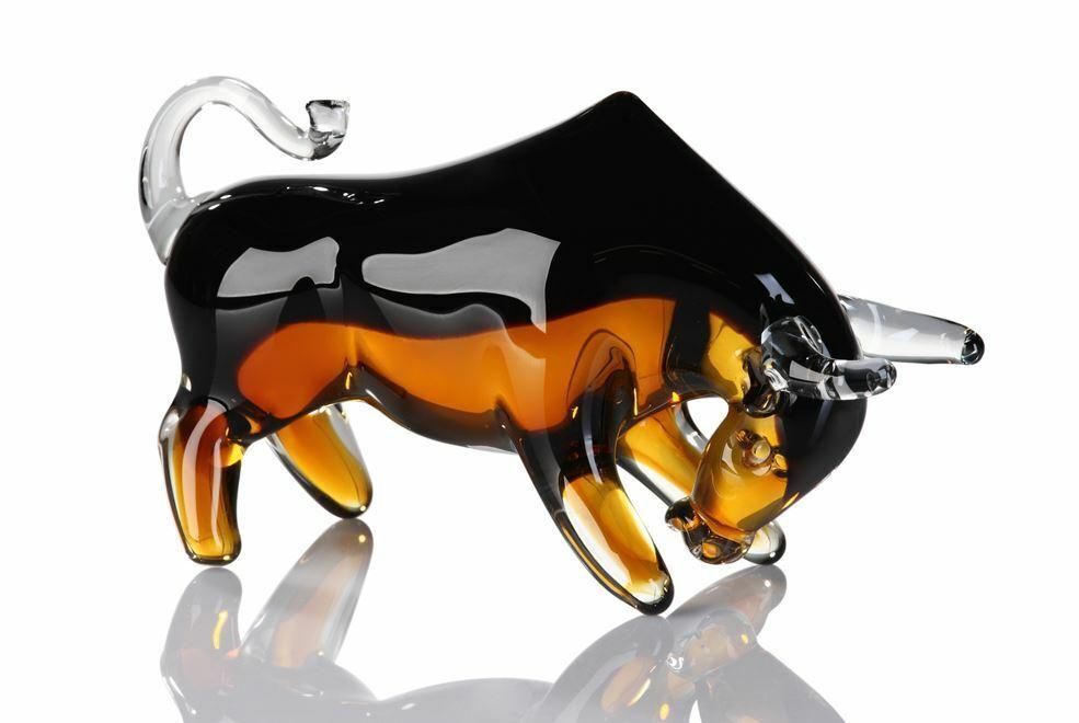 77406 Sculpture Taureau verre noir Amber hauteur 12 cm largeur 21 cm