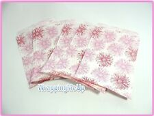 100 5x7 Pink Flower Print Bags Retail Paper Gift Bags Serrated Edge Bags