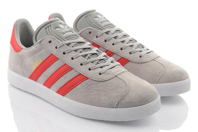 Adidas Originals Gazelle BB5257 Pelle Scamosciata Scarpe Da Ginnastica Grigio Rosso  Uomo