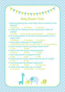pack of 20 baby shower games trivia blue boy a5 size ebay
