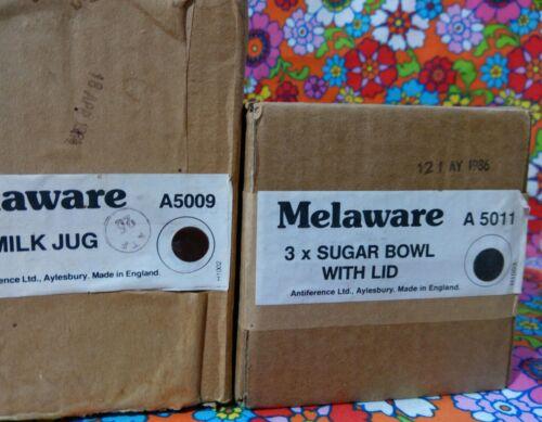 Vintage 1980s Melamine Melaware Jug And Sugar Bowl Deadstock Brown Cream