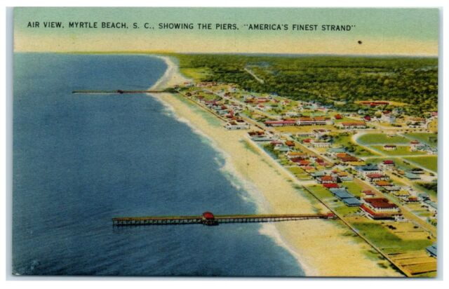 Mid-Century Aerial View of Myrtle Beach and Piers, Myrtle Beach, SC Postcard