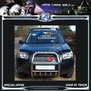 Land rover freelander ii bull bar chrome axle nudge a bar 60mm image is loading land rover freelander ii bull bar chrome axle aloadofball Gallery