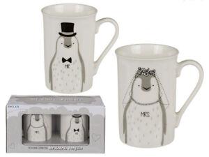 Tassen-Set-Mr-und-Mrs-Pinguin-Hochzeit-Kaffeebecher-Geschenk-Just-Married-Heirat