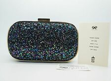 ANYA HINDMARCH Navy Purple Multicolored Glitter Marano Box Clutch Purse $850