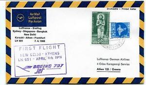 100% Vrai Ffc 1966 Lufthansa First Flight 690 Athen Karachi Delhi Bangkok Singapore Sydney Attrayant Et Durable