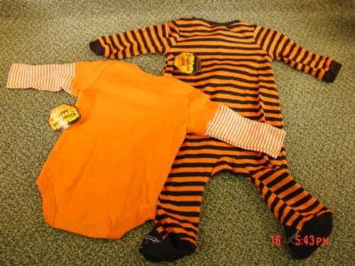 2 NWT Infant Halloween Themed Sleeper Playsuit Girl Boy