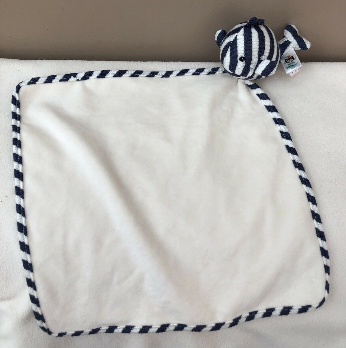 Little Jellycat Walter Whale Soother Comforter Navy Stripe Blanket Baby Soft Toy