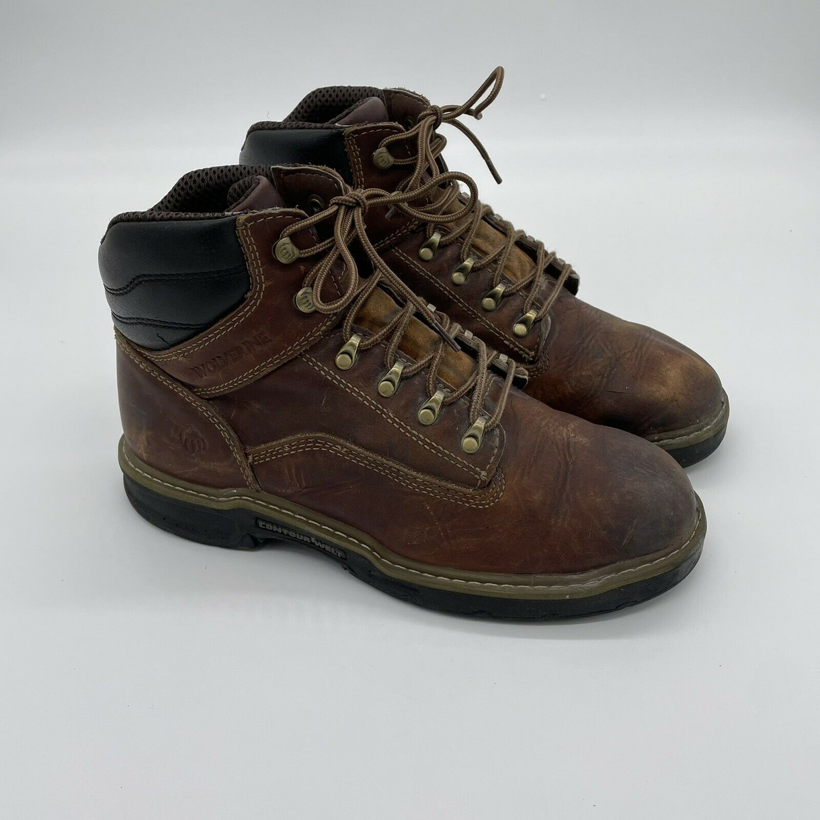 """Wolverine W02421 Brown Leather Raider Multishox 6"""" Work Boots Men's 10EW"""