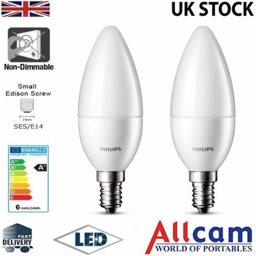 Philips 4W LED Candle E14 Small Edison Screw Frosted Warm White 250Lm 2 Pack