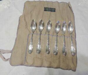 1881-Rogers-LA-VIGNE-LAVIGNE-GRAPE-1908-6-orange-fruit-spoons-flannel-wrapper