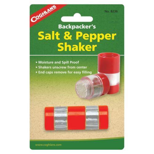 Coghlan/'s Backpacker/'s Salt /& Pepper Shaker Compact Spill Moisture Proof 2-pack