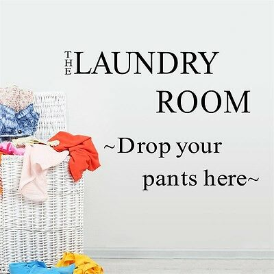 Removable Laundry Room Lettering Vinyl Wall Art Sticker Home Decal Bathroom