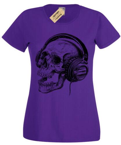 Skull Headphones SCREEN PRINTED Womens T Shirt ladies band skeleton music retro