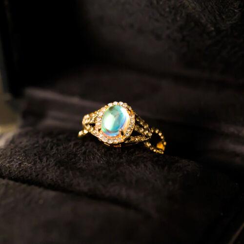 18K Jaune Plaqué Or Ovale Cut Blanc opale Femmes bague de mariage Taille 6-10