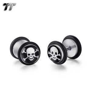 BP10 TT Clear Epoxy Green Stripe Surgical Steel Fake Ear Plug Earrings