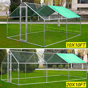 Large-Metal-Walk-In-Chicken-Coop-Run-Backyard-Hen-House-Shade-Cage-Outdoor-Cover