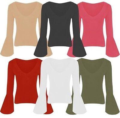 Neu Damen Lang Glockenärmel Jersey Stretch Oberteile 8-14