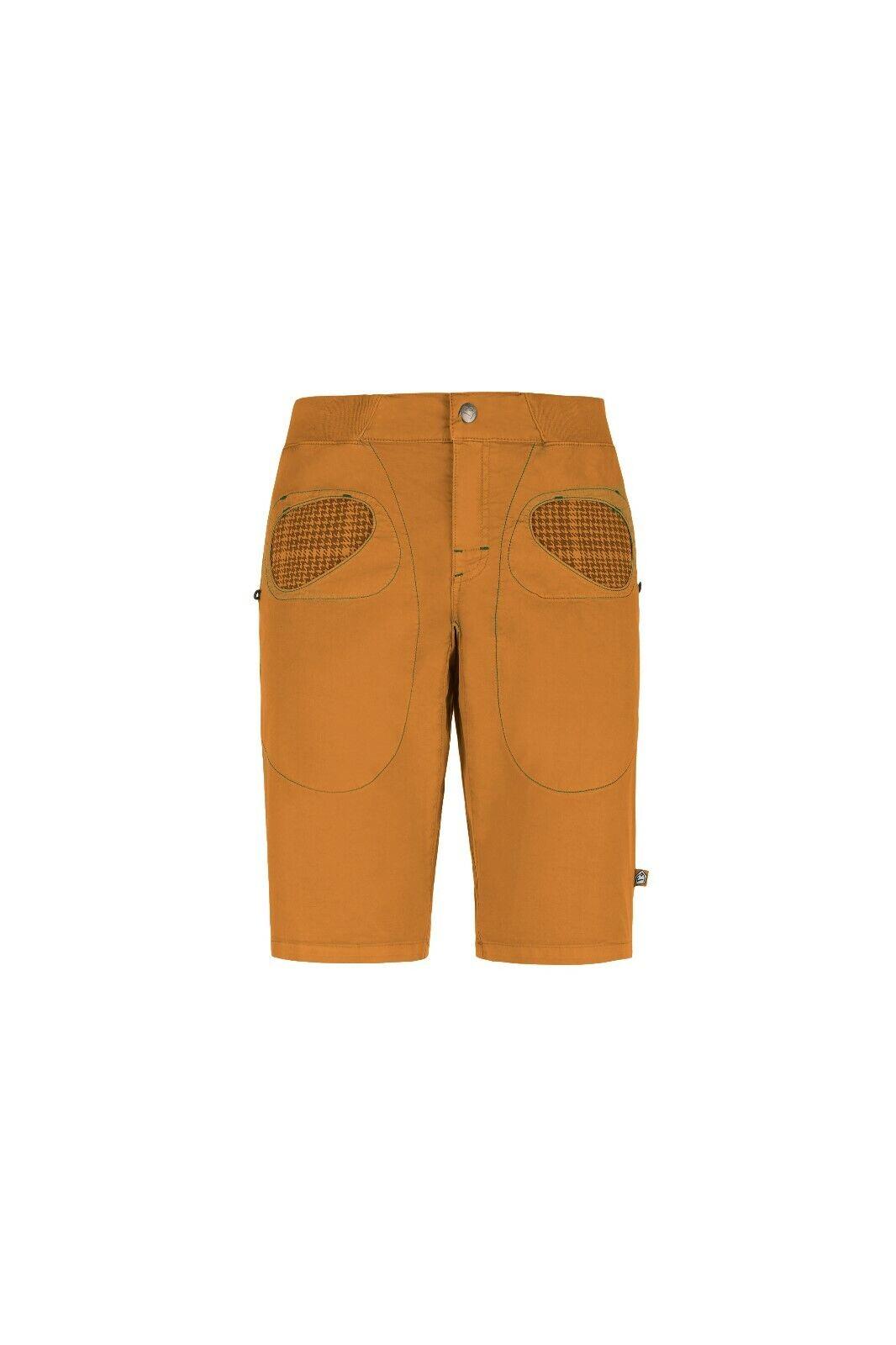 E9 Rondo Corto Pantalón Corto de Escalada Bouldershorts para Hombre Mostaza