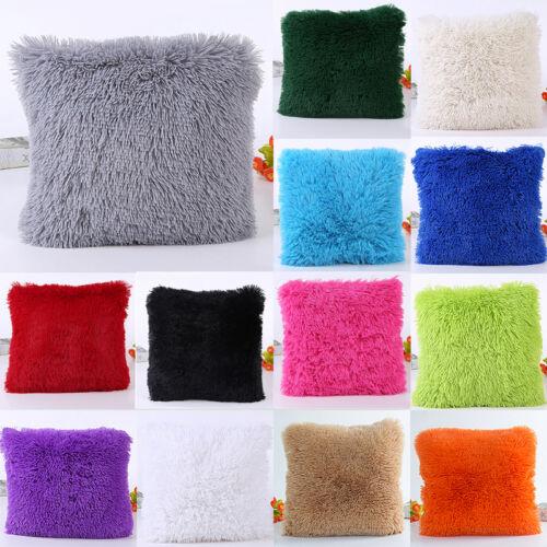 """18/"""" Fur Plush Square Throw Pillow Cases Home Decor Sofa Waist Cushion Cover so"""
