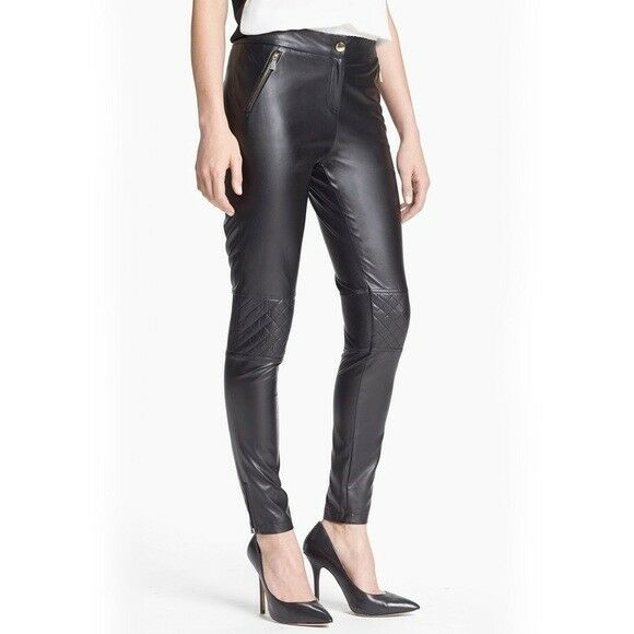 Vince Camuto Faux Vegan Leather Quilted Skinny Pants 8 NEW   179