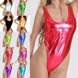 Frauen Wet Look Einteilige Bikini-Badebekleidung Metallic Trikot Bodysuit Clubwe