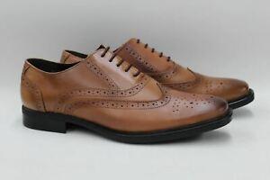 Redfoot-Homme-Lustre-marron-clair-en-cuir-Oxford-Richelieu-a-Chaussures-UK11-EU45-Entierement-neuf