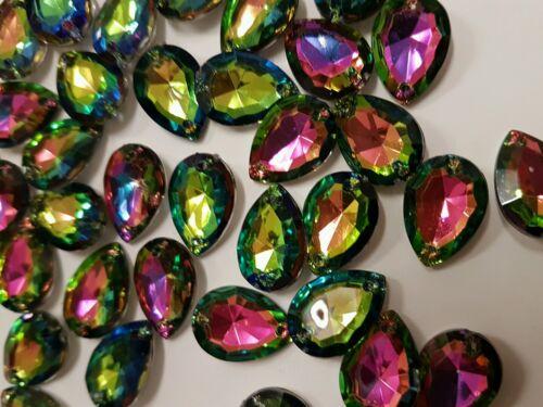2x acrylic Sew On Stitch rainbow AB Jewel 25mm GEM CRYSTAL RHINESTONE trim DANCE