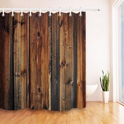 Grunge Rustic Old Barn Wood Board Bathroom Waterproof Fabric Shower Curtain Set