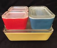 Vintage Pyrex Refrigerator Dishes Primary Colors~Yellow~Red~Blue Older Style Lid