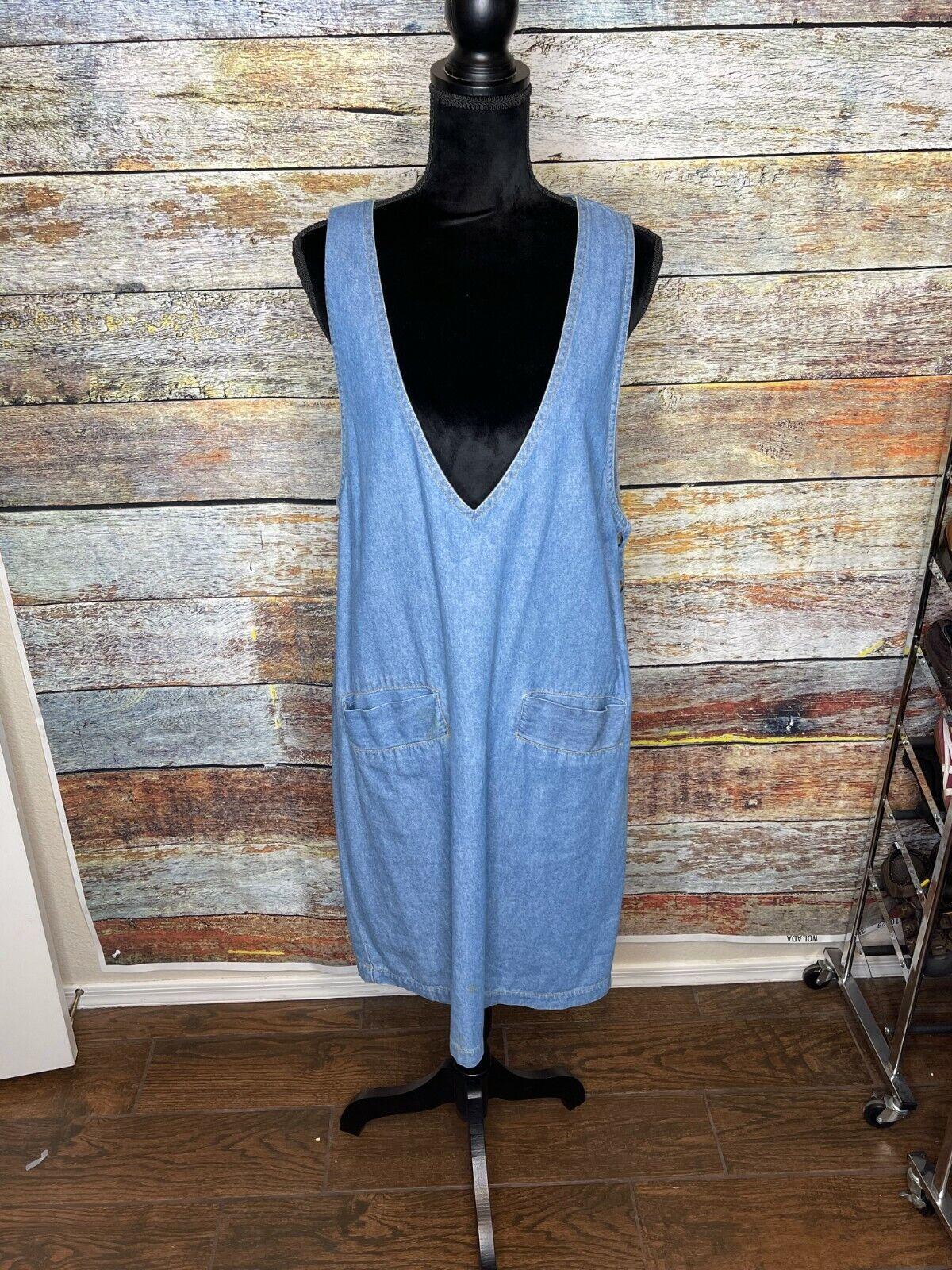 Vtg D.P.S. New york Denim jean jumper apron pinaf… - image 1