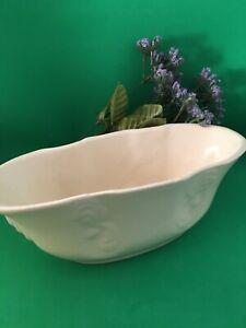 Vintage Art Pottery Bowl in White Matte Glaze Mid Century Ceramic Planter