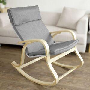 SoBuy-Wooden-Rocking-Chair-Reclining-Relax-Armchair-Grey-FST15-DG-Grey-UK