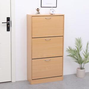 AVC-Designs-3-Draw-Modern-Shoe-Footwear-Storage-Cabinet-Pine-MDF-inc-Warranty