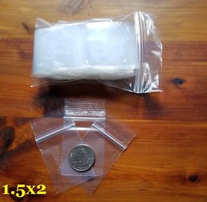 "1000 1.5""x2"" ZIP LOCK BAGS CLEAR 2 MIL POLY ZIPLOCK RECLOSABLE SEAL MINI BAGGIES"