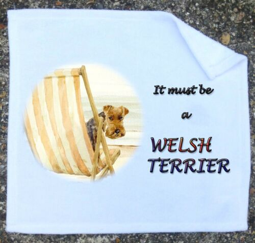 WELSH TERRIER NEW WHITE FACE CLOTH MICROFIBRE TOWELING SANDRA COEN ARTIST PRINT
