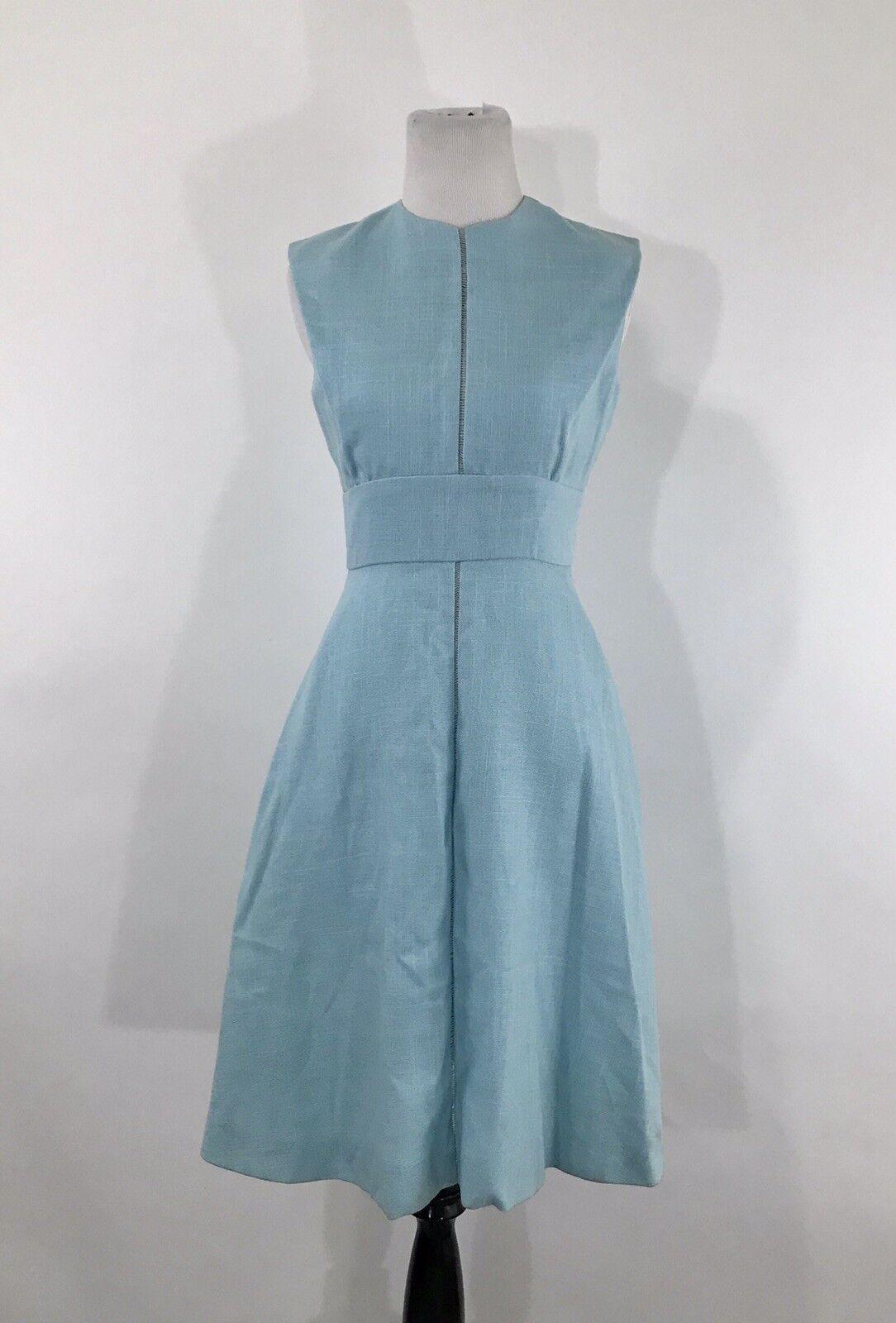 1970's Vtg  Mollie Parnis Boutique Vintage Linen bluee Dress 6